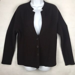 Eileen fisher brown cardigan button front